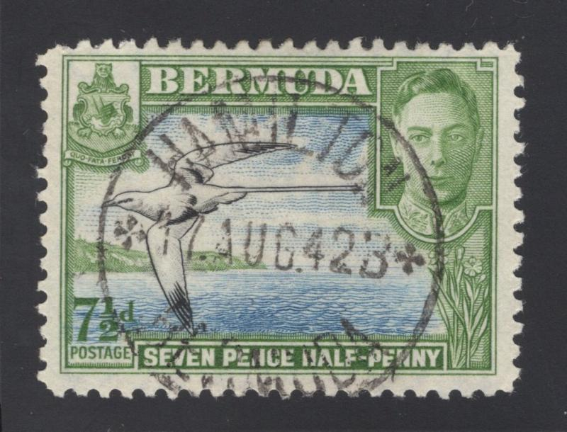 Bermuda #121D Yellow Green, Blue & Black - 7 1/2 Pence - Used