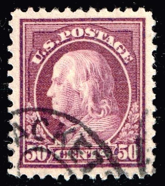US STAMP #517 – 1917 50c Franklin, red violet USED XFS SUPERB