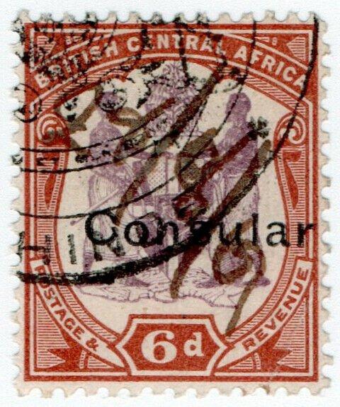 (I.B-BOB) Rhodesia/British Central Africa Revenue : Consular 6d