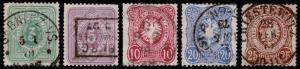 Germany Scott 29-33 (1875) Used H F-VF, CV $30.40 B