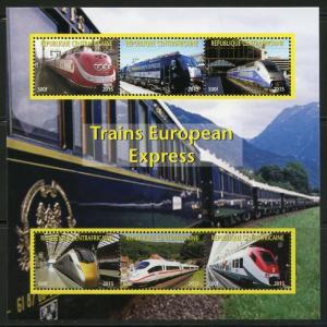 CENTRAL AFRICA  2015  NEW RELEASE EUROPEAN HIGH SPEED TRAINS  SHEET II  MINT NH