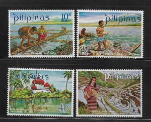 PHILIPPINES, 1090-1093, MNH, TOURIST TYPE OF 1970