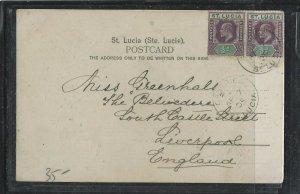ST LUCIA COVER (P0405B)  1905 KE 1/2D PR ON PSC TO ENGLAND