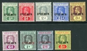 BRITISH VIRGIN ISLANDS-1913-19  SPECIMEN OVPT lightly mounted mint Sg 69s-77s