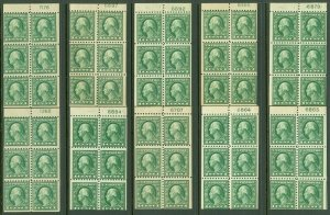 EDW1949SELL : USA 1914 Sc #424d. 10 Booklet panes all with PL #s. MNH. Cat $140.