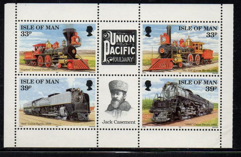 Isle of Man Sc 517b 1992 Union Pacific RR bk pane mint NH