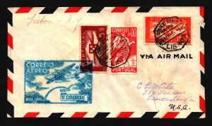 Portugal 1939 FFC Lisbon to NY (Crease) - L3007