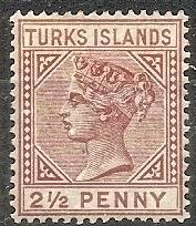 Turks Islands 49 MLH 1982 2 1/2p red brn Victoria