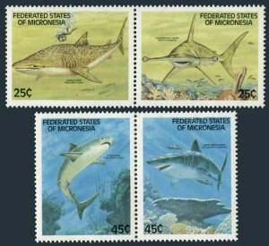 Micronesia 77-80a pairs,MNH.Michel 128-131. Sharks 1989:Whale,Hammerhead,Tiger,