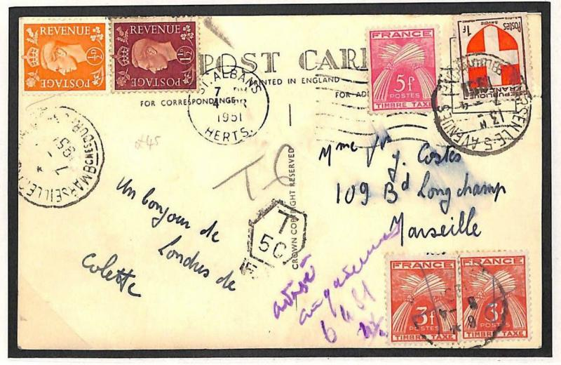V219 1951 GB FRANCE MIXED FRANKING *St.Albans* Forwarded Postcard Marseilles