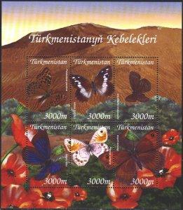 Turkmenistan. 2002. Small sheet 154-59. Butterflies, fauna. MNH.