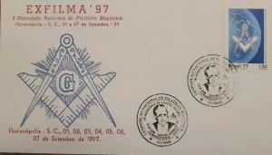 A) 1977, BRAZIL, FREEMASONRY, I NATIONAL EXHIBITION OF MASONIC PHILATELY, FLORIA
