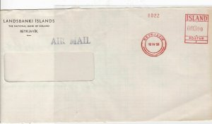 iceland 1958 machine cancel stamp cover front Ref 10041