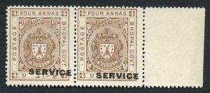 Bhopal SGO313c 1932 1/4a Orange Perf 14 Misplaced Surcharge (no gum)