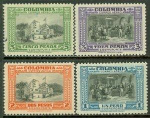 EDW1949SELL : COLOMBIA 1941 Scott #C130-33 Mint Original Gum Hinged. Catalog $63