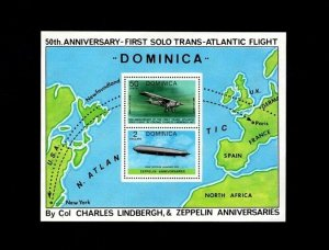 DOMINICA - 1978 - LINDBERG FLIGHT - GRAF ZEPPELIN - AIRSHIP- MINT - MNH S/SHEET!