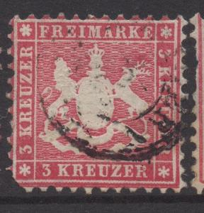 GERMANY WURTTEMBERG;  1860s classic Perf issue fine used 3k. fair POSTMARK