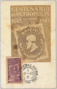 59110  -  BRAZIL - POSTAL HISTORY: MAXIMUM CARD 1943 -  STAMP CENTENARY