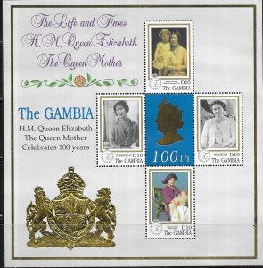 Gambia #2145   Queen Mother's 100th (MNH) sheet of 4 CV 7.25