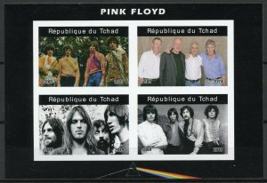 Chad Music Stamps 2019 MNH Pink Floyd Famous Musicians People 4v IMPF M/S II