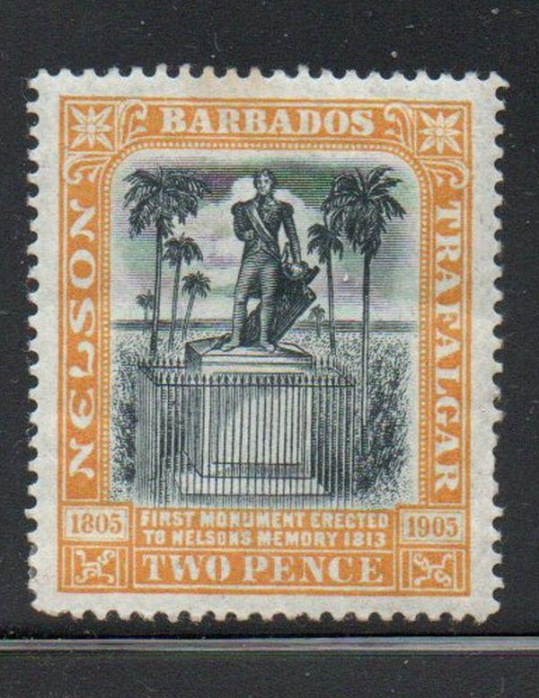 Barbados Sc 105 1906 2d Nelson Monument stamp mint