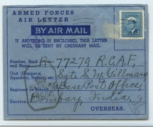 Secret messages censored under stamps 1943 Military > INDIA air letter Canada