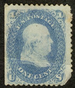 US #63 SCV $275.00 VF plus mint hinged, super fresh color, crease, see photo,...
