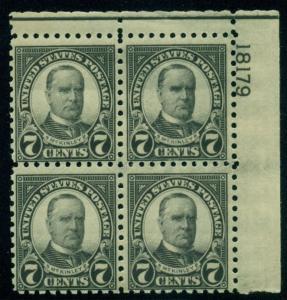 US #588 7¢ black, p. 10, Plate No. Block of 4, og, NH, VF, Scott $425.00