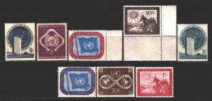 UN New York. 1951. 1-10 of the series. UN Symbols. MNH.