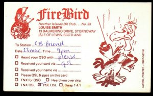 CB RADIO CARD Fire Bird,Louise Smith,Bagpipes, Isle of Lewis,Scotland(Q4367)