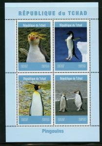 CHAD 2019  PENGUINS  SHEET OF FOUR MINT NEVER HINGED