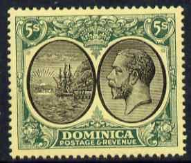 Dominica 1923-33 KG5 Badge 5s black & green on yellow...