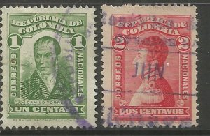COLOMBIA  340-341  USED,  TORRES & NARINO