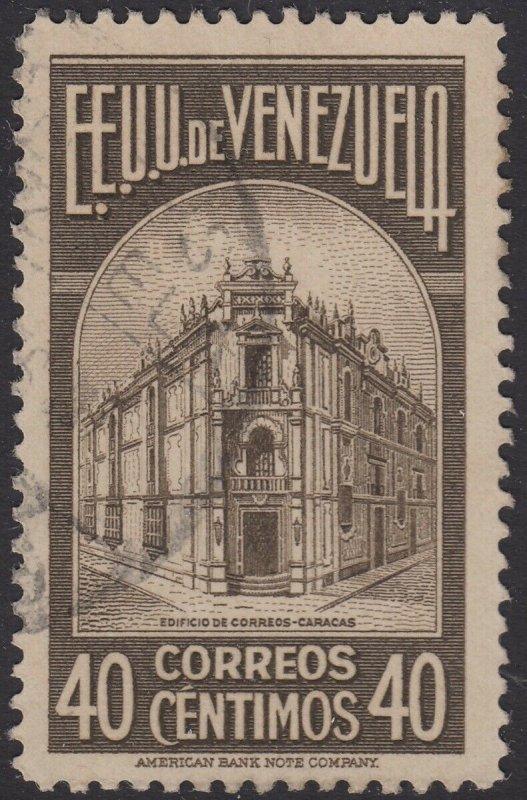 Venezuela 1938 40c Sepia. Fine Used. Scott 335, SG 513