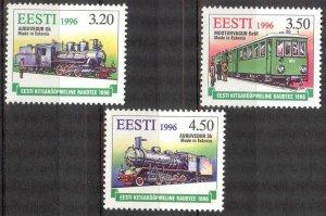 Estonia 1996 Steam Locomotives Trains set of 3 MNH