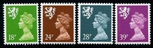 HERRICKSTAMP SCOTLAND Sc.# SMH 36, 48, 55, 62 Perf Error Stamp 13 1/2 x 14