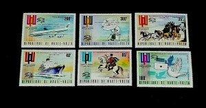 VOLTA, #339-41 & #C197-99, 1974,UNIVERSAL POSTAL UNION, OVPT. SINGLES, MNH, LQQK