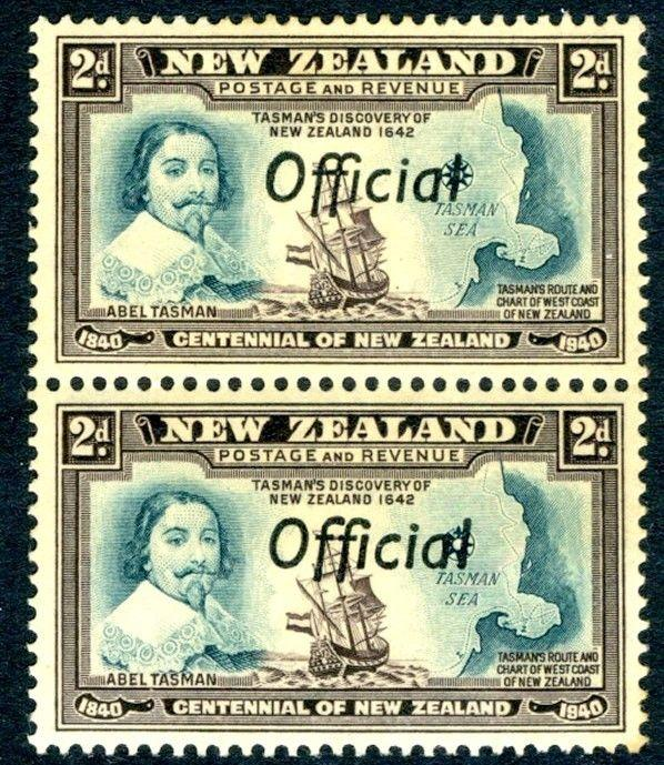 NEW ZEALAND-1940 Centennial 2d Blue-Green & Chocolate Official Pair LIGHTLY M/M