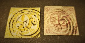 GER STATE THURN & TAXIS #s 50 & 51 USED CV $335.00