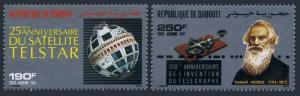 Djibouti C233-C234,MNH.Michel 498-499. Telstar-25.Telegraph-150,1987.S.Morse.