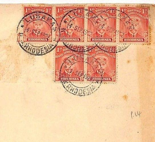 DD219 1922 Rhodesia *Lusakas* 6d Rate 1d Perf 14 ADMIRALS Franking Reduced Cover