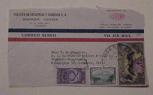 ECUADOR  REVENUE USED FOR POSTAGE ON FRONT ONLY 1949 TO USA