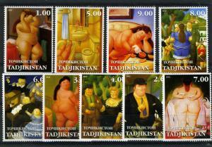 Tajikistan 2002 Fernando Botero NUDES Paintings set (9v) Perforated Mint (NH)