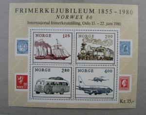 1980 Norway  SC #765 FRIMERKEJUBILEUM 1855-1980 Norwex 80  MNH SS
