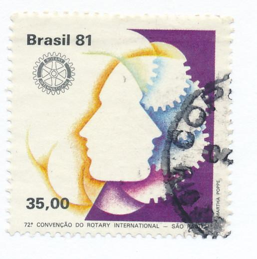 Brazil 1981  Scott 1744 used - 35cr, Rotary emblem & Faces