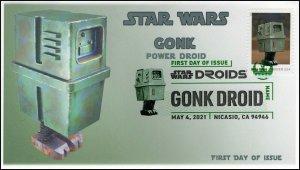 21-111, 2021,Star Wars Droids, Gonk, First Day Cover, Digital Color Postmark,