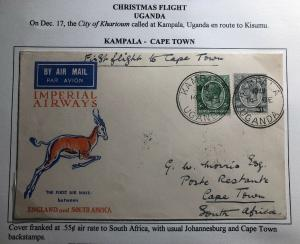 1931 Kampala Uganda KUT First Flight Cover FFC To Capetown South Africa Xmas