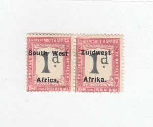SOUTH WEST AFRICA (MK6623) # J19  VF-MH 1p POTAGE DUE PAIR /SETTING IV /ROSE-BLK