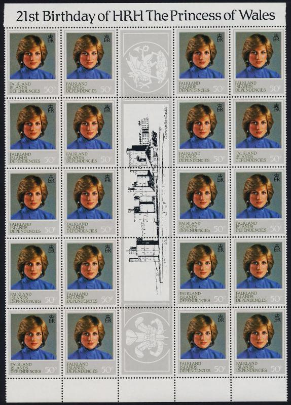 Falkland Islands Dep 1L72,73a,74-5 Gutter strips of 20 MNH Princess Diana 21st