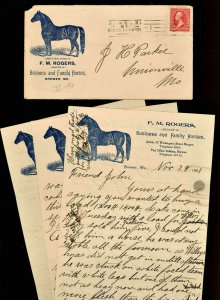1901 F. M. ROGERS HORSES  Cover & Letterhead Brewer ME (3 Pages )